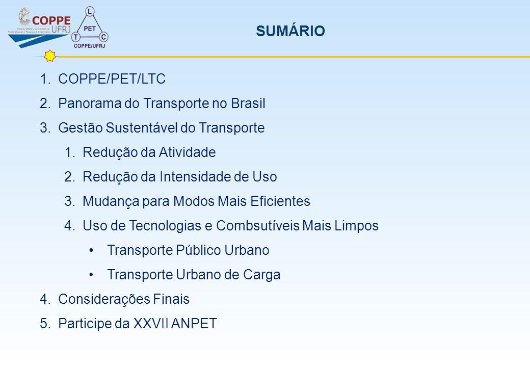 MUDANÇA PARA MODOS MAIS EFICIENTES Tipo de veículoCaminhão médioComercial leve Capacidade [t]10 t1,5 t Rendimento energético [km/l]2,03 km/l7,5 km/l Combustívelóleo diesel Fator de emissão CO (g/km)1,0570,354 HC (g/km)0,2040,068 NOx (g/km)5,9491,990 MP (g/km)0,0990,033 CO2 (g/l)2710 Planejamento de Transporte, Uso de Energia e Impactos Ambientais