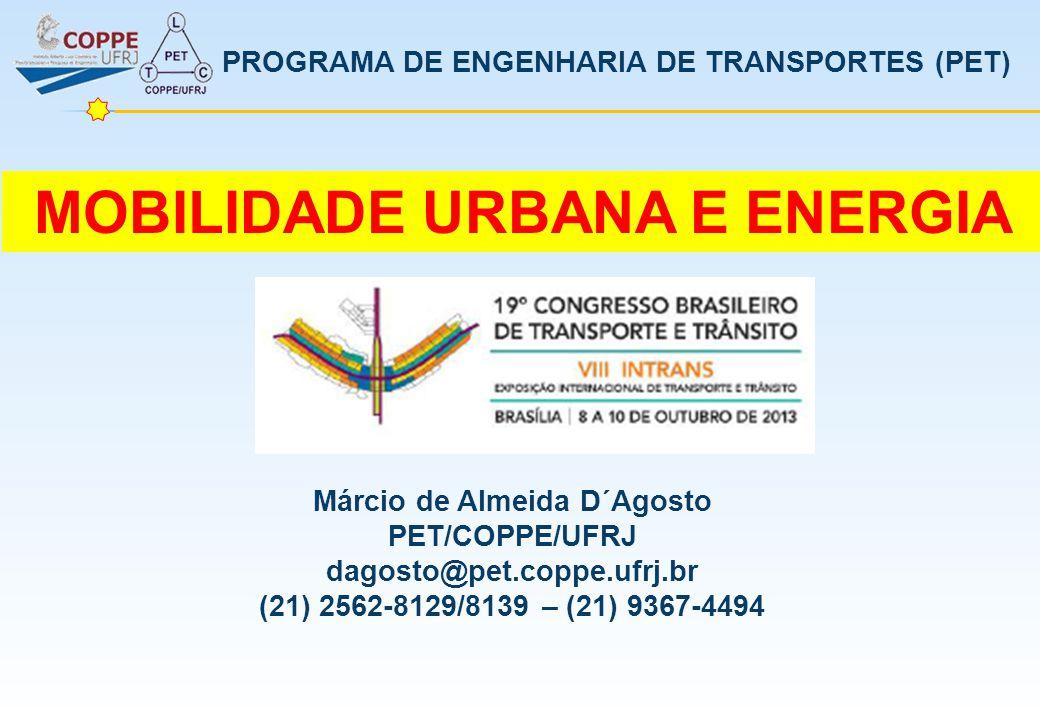 PROGRAMA DE ENGENHARIA DE TRANSPORTES (PET) MOBILIDADE URBANA E ENERGIA Márcio de Almeida D´Agosto PET/COPPE/UFRJ dagosto@pet.coppe.ufrj.br (21) 2562-