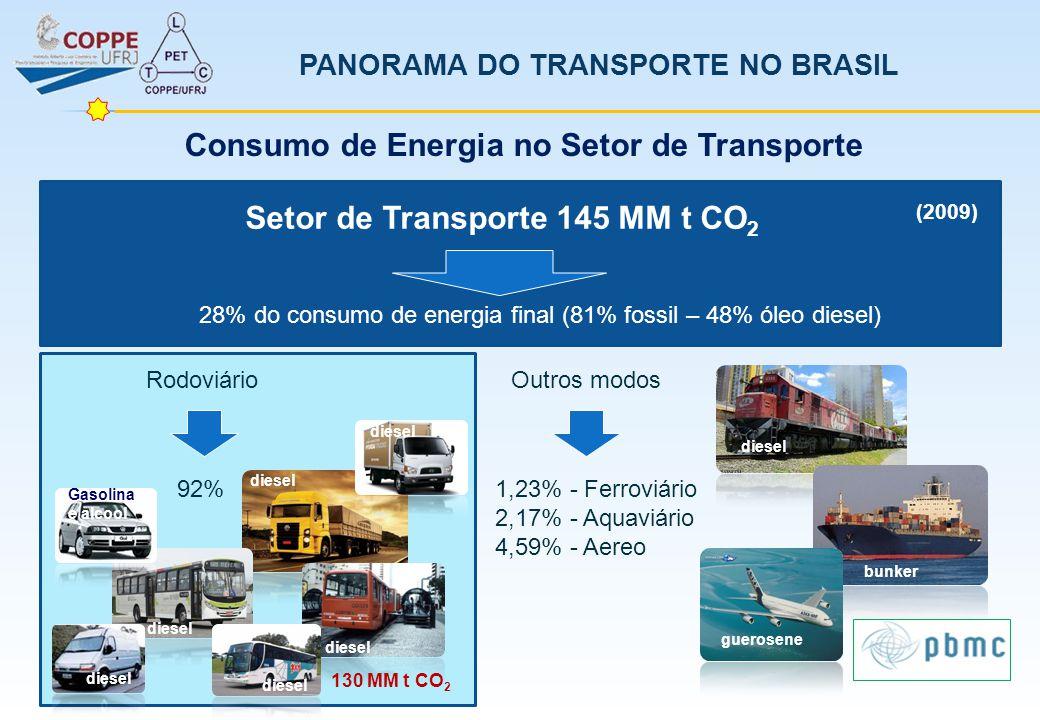 PANORAMA DO TRANSPORTE NO BRASIL (2009) 28,76% Etanol anidro 71,23% Etanol hidratado 0,01% Biodiesel Consumo de Energia no Setor de Transporte