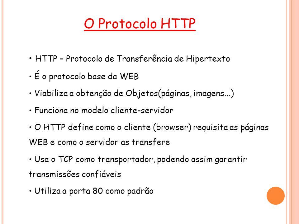 12 Métodos HTTP Alguns métodos do HTTP 1.1: GET: busca um objeto definido por uma URL requisição PUT: indica que os dados no corpo da consulta devem ser armazenados na URL especificada POST: envia dados para serem processados pelo servidor no corpo da mensagem HEAD: Similar ao método GET, mas retorna somente o cabeçalho da resposta do servidor DELETE: apaga o arquivo especificado na URL