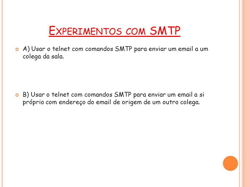 18 E XEMPLO SMTP telnet ferreiros.cin.ufpe.br 25 //tecle enter 220 CIn-UFPE ESMTP Mail Server Helo comunicacao //tecle enter 250 ferreiros.cin.ufpe.br Hello g3c22.cin.ufpe.br [172.17.67.22], pleased to meet you mail from: [seu login]@cin.ufpe.br //tecle enter 250 2.1.0 [seu login]@cin.ufpe.br...