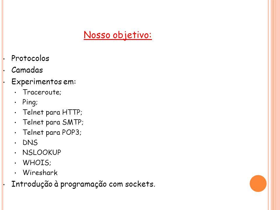 P ROTOCOLOS ...protocolo é um padrão que especifica o formato de dados e as regras a serem seguidas... Exemplos: HTTP, FTP, DNS, TCP, UDP