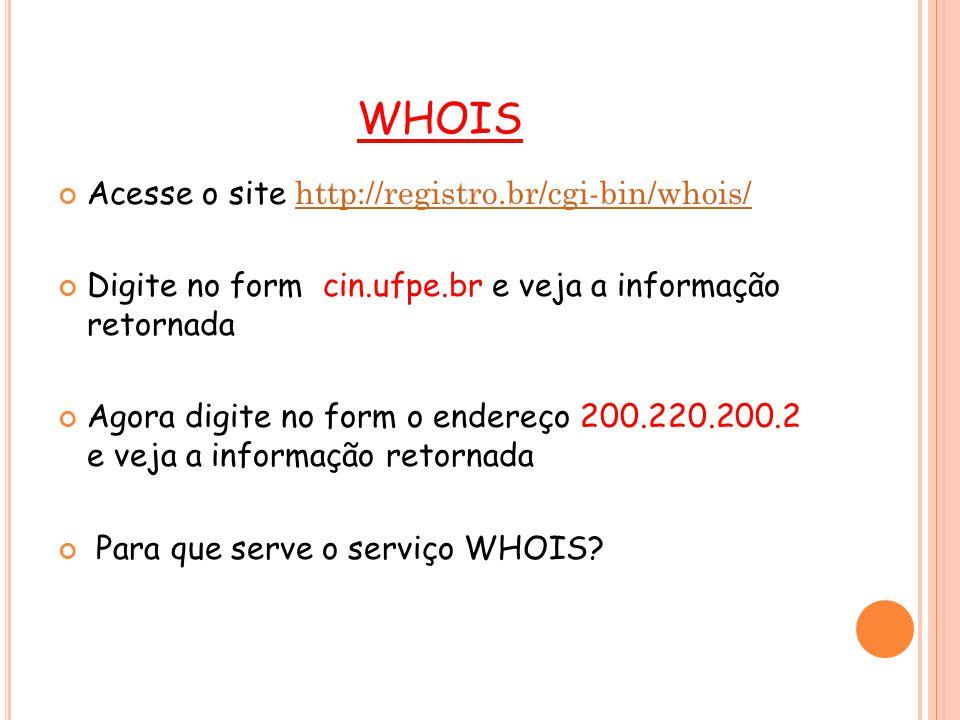 WHOIS Veja a RFC 3912