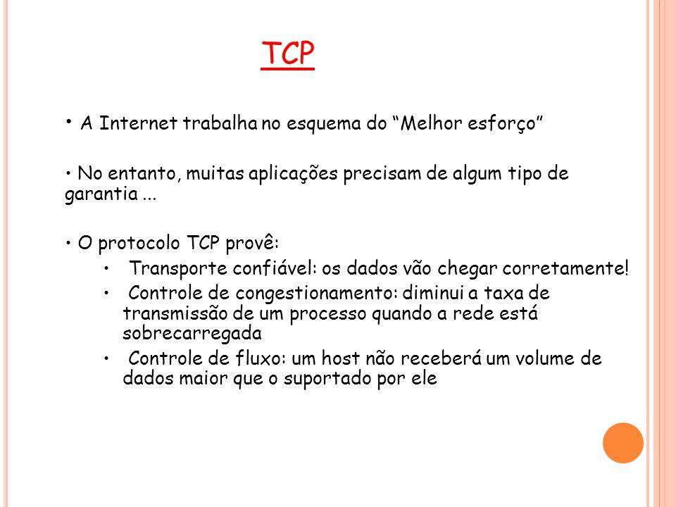 31 UDP O UDP é um protocolo de transporte bastante simplificado Não possui a fase de setup do TCP E não fornece nenhuma garantia de entrega dos dados