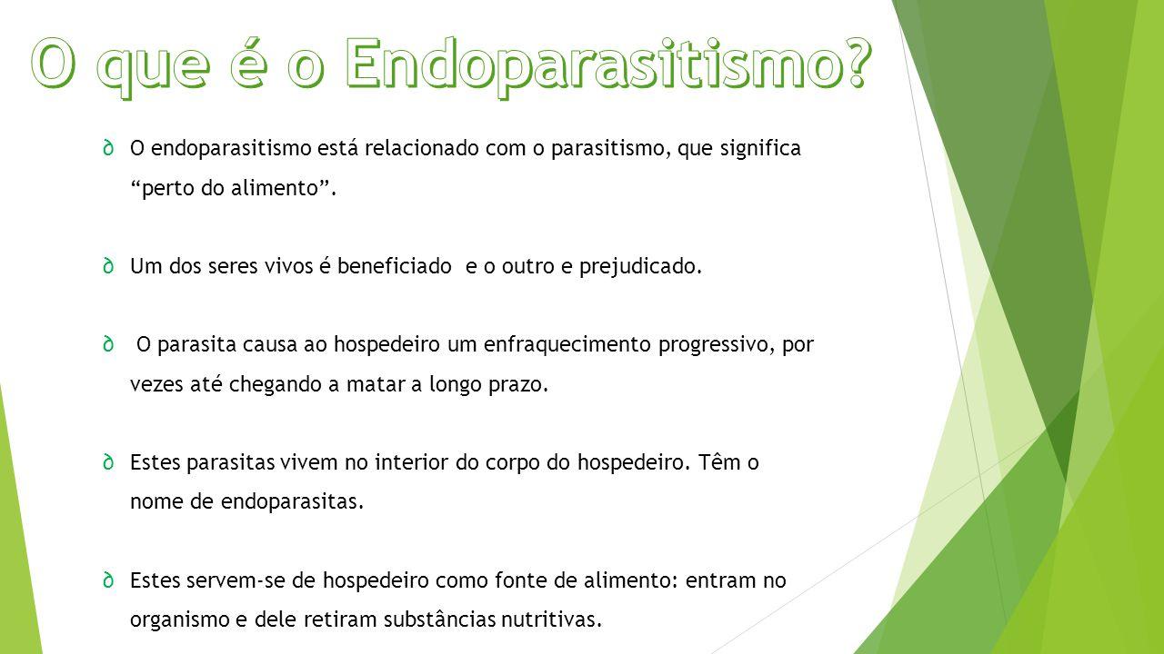 """∂O endoparasitismo está relacionado com o parasitismo, que significa """"perto do alimento"""". ∂Um dos seres vivos é beneficiado e o outro e prejudicado. ∂"""