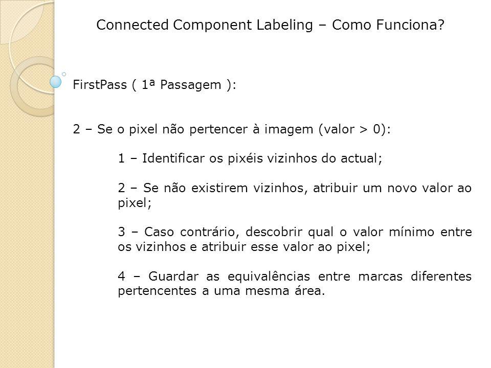 Connected Component Labeling – Como Funciona? FirstPass ( 1ª Passagem ): 2 – Se o pixel não pertencer à imagem (valor > 0): 1 – Identificar os pixéis
