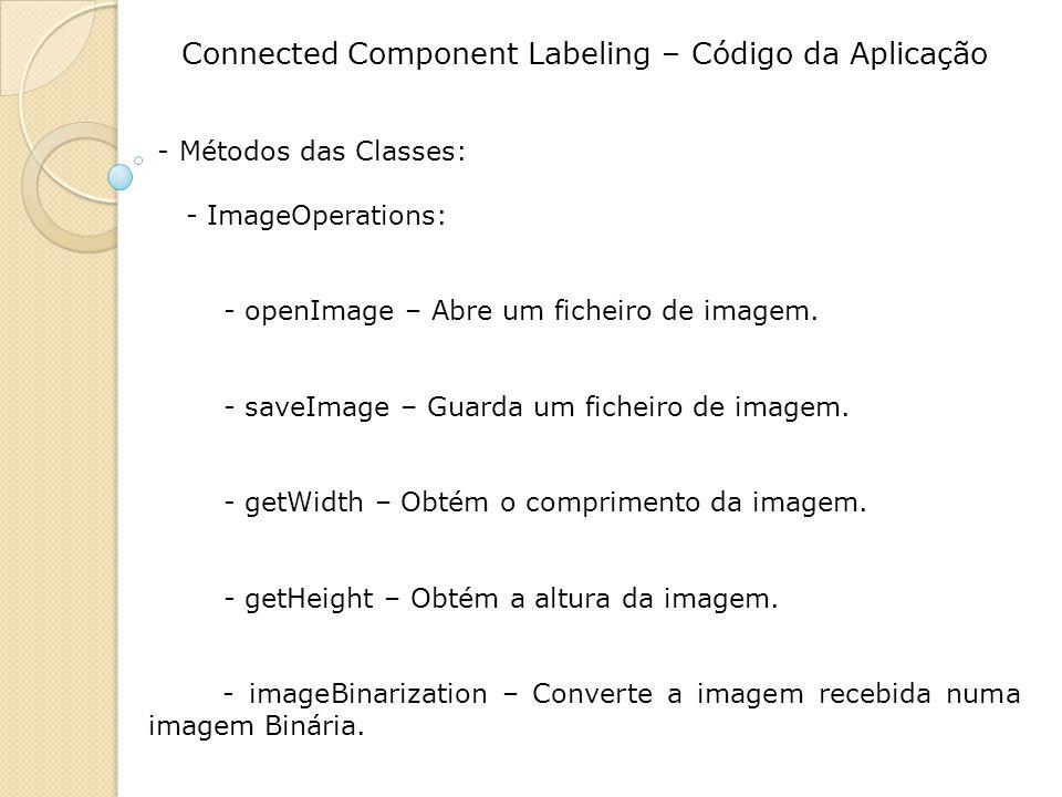 Connected Component Labeling – Código da Aplicação - Métodos das Classes: - ImageOperations: - openImage – Abre um ficheiro de imagem. - saveImage – G