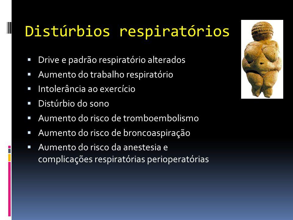 Distúrbios respiratórios  Drive e padrão respiratório alterados  Aumento do trabalho respiratório  Intolerância ao exercício  Distúrbio do sono 