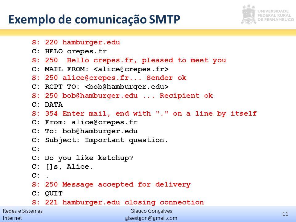 11 Glauco Gonçalves glaestgon@gmail.com Redes e Sistemas Internet Exemplo de comunicação SMTP S: 220 hamburger.edu C: HELO crepes.fr S: 250 Hello crep