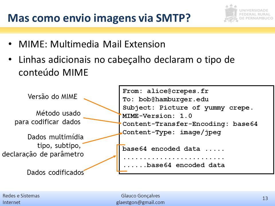 13 Glauco Gonçalves glaestgon@gmail.com Redes e Sistemas Internet Mas como envio imagens via SMTP? MIME: Multimedia Mail Extension Linhas adicionais n