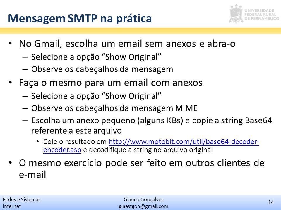 14 Glauco Gonçalves glaestgon@gmail.com Redes e Sistemas Internet Mensagem SMTP na prática No Gmail, escolha um email sem anexos e abra-o – Selecione