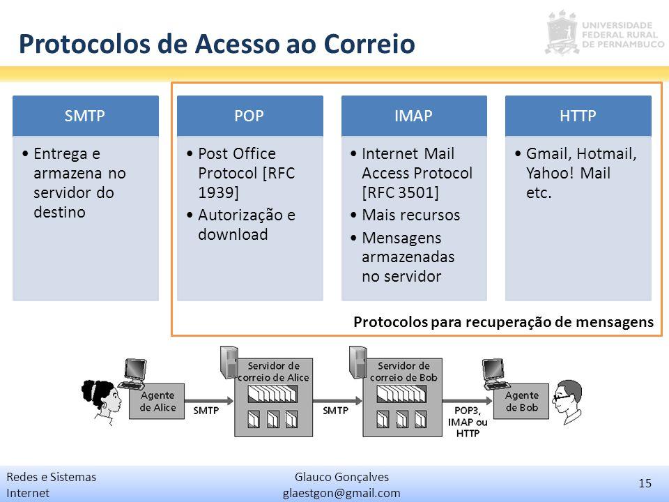 15 Glauco Gonçalves glaestgon@gmail.com Redes e Sistemas Internet Protocolos de Acesso ao Correio SMTP Entrega e armazena no servidor do destino POP P