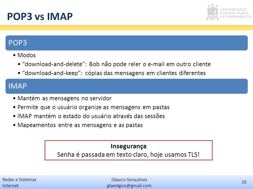 """16 Glauco Gonçalves glaestgon@gmail.com Redes e Sistemas Internet POP3 vs IMAP POP3 Modos """"download-and-delete"""": Bob não pode reler o e-mail em outro"""