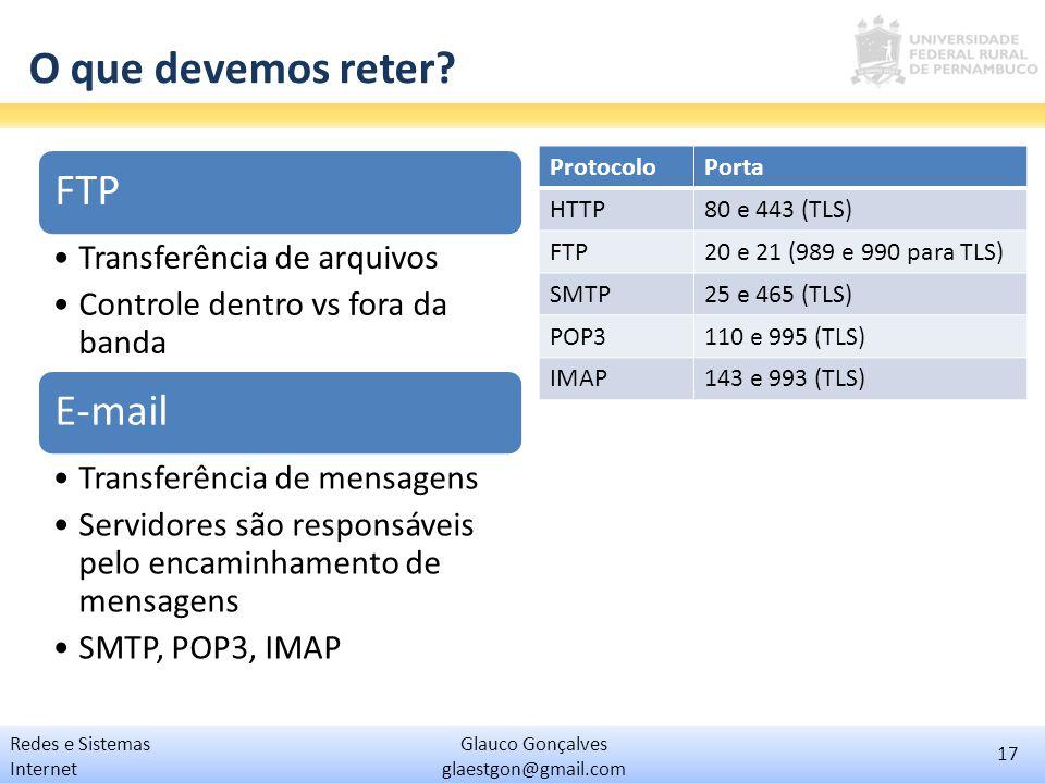 17 Glauco Gonçalves glaestgon@gmail.com Redes e Sistemas Internet O que devemos reter? FTP Transferência de arquivos Controle dentro vs fora da banda