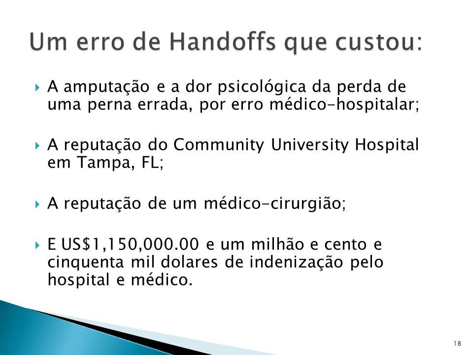  A amputação e a dor psicológica da perda de uma perna errada, por erro médico-hospitalar;  A reputação do Community University Hospital em Tampa, F