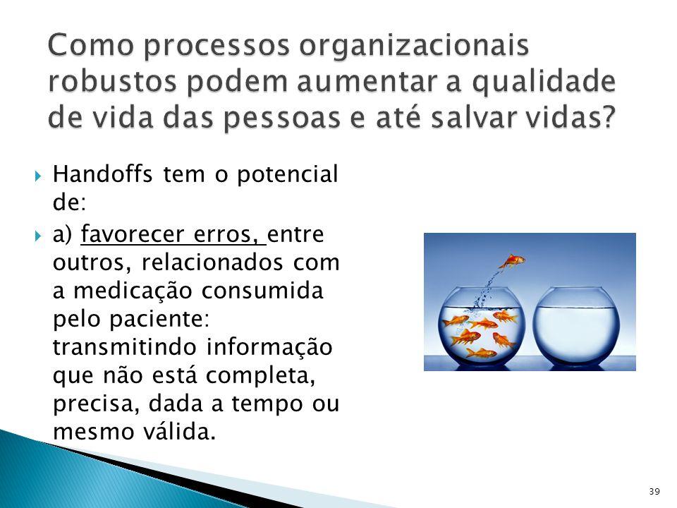  Handoffs tem o potencial de:  a) favorecer erros, entre outros, relacionados com a medicação consumida pelo paciente: transmitindo informação que n