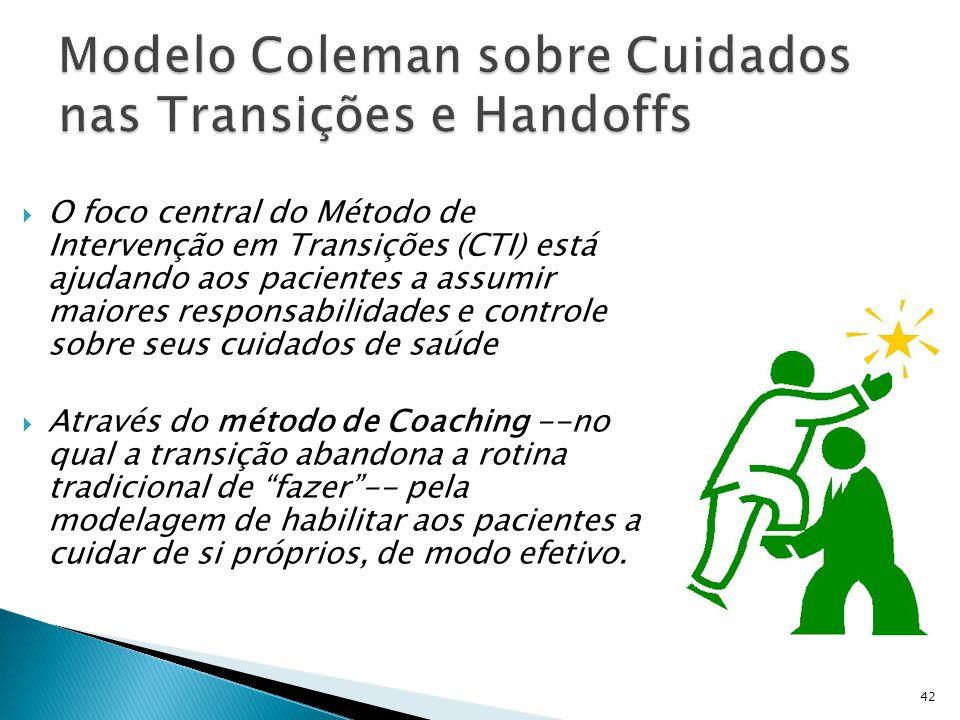  O foco central do Método de Intervenção em Transições (CTI) está ajudando aos pacientes a assumir maiores responsabilidades e controle sobre seus cu