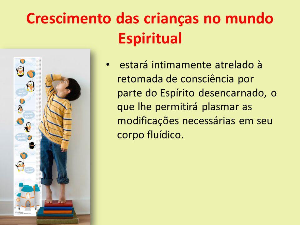 Crescimento das crianças no mundo Espiritual estará intimamente atrelado à retomada de consciência por parte do Espírito desencarnado, o que lhe permitirá plasmar as modificações necessárias em seu corpo fluídico.