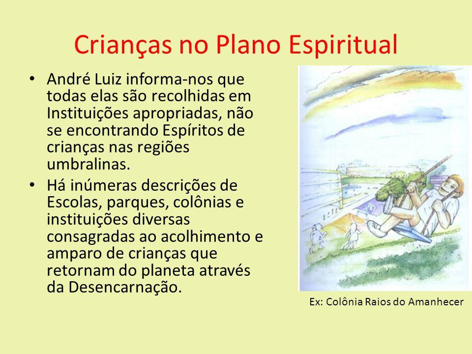 Crianças no Plano Espiritual André Luiz informa-nos que todas elas são recolhidas em Instituições apropriadas, não se encontrando Espíritos de crianças nas regiões umbralinas.