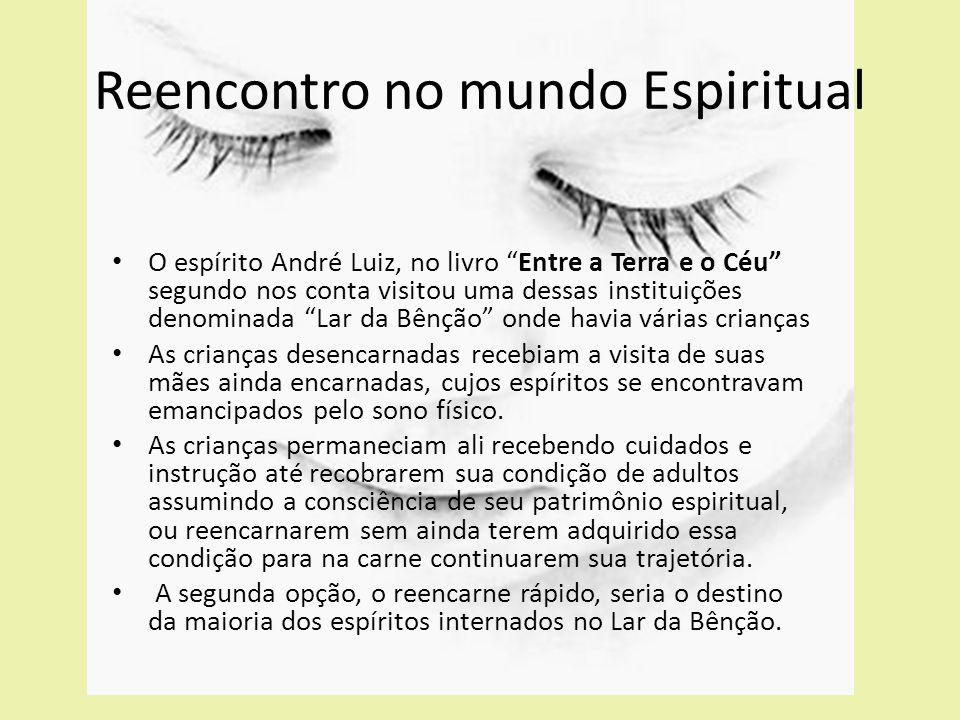 """O espírito André Luiz, no livro """"Entre a Terra e o Céu"""" segundo nos conta visitou uma dessas instituições denominada """"Lar da Bênção"""" onde havia várias"""
