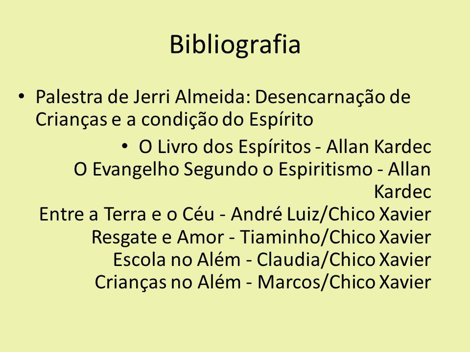Bibliografia Palestra de Jerri Almeida: Desencarnação de Crianças e a condição do Espírito O Livro dos Espíritos - Allan Kardec O Evangelho Segundo o