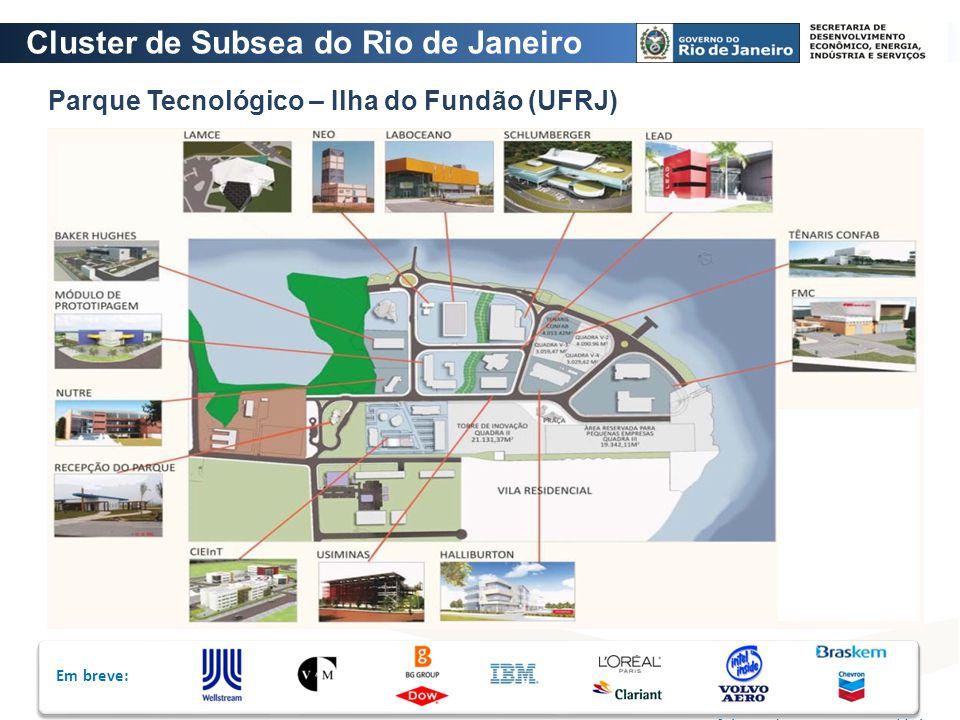 Em breve: Fonte: Prefeitura do Parque Tecnológico Parque Tecnológico – Ilha do Fundão (UFRJ) Cluster de Subsea do Rio de Janeiro