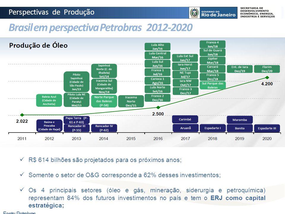 Brasil em perspectiva Petrobras 2012-2020 Fonte: ANP Fonte: Petrobras R$ 614 bilhões são projetados para os próximos anos; Somente o setor de O&G corr