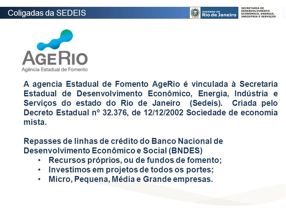 A agencia Estadual de Fomento AgeRio é vinculada à Secretaria Estadual de Desenvolvimento Econômico, Energia, Indústria e Serviços do estado do Rio de