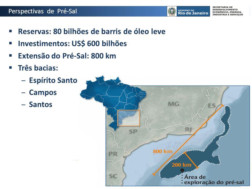  Reservas: 80 bilhões de barris de óleo leve  Investimentos: US$ 600 bilhões  Extensão do Pré-Sal: 800 km  Três bacias: ‒Espírito Santo ‒Campos ‒S