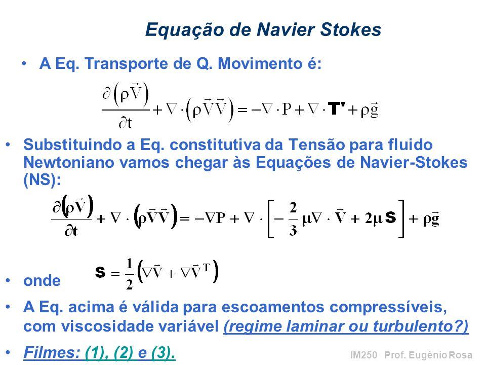 IM250 Prof.Eugênio Rosa Equação de Navier Stokes Substituindo a Eq.
