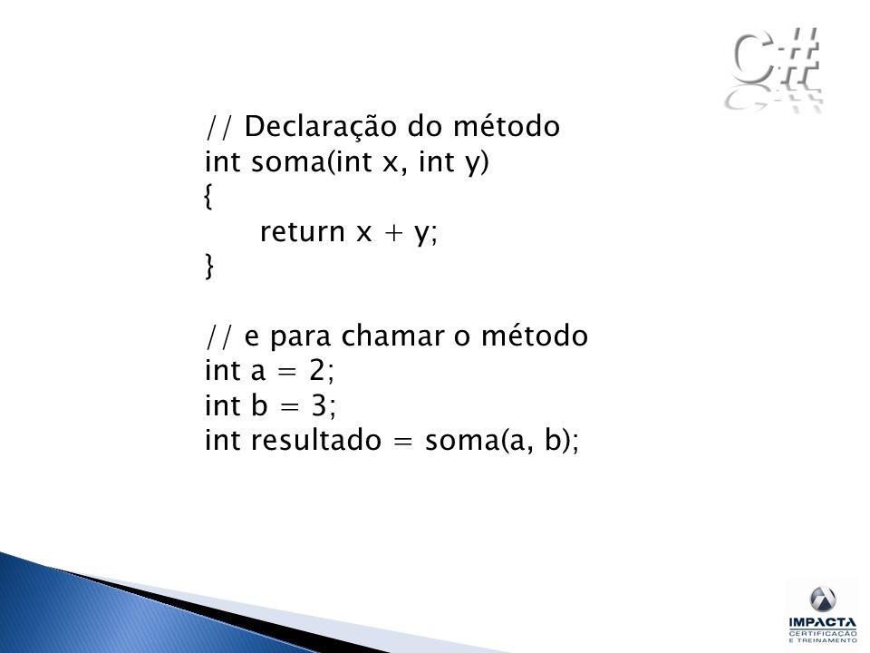 // Declaração do método int soma(int x, int y) { return x + y; } // e para chamar o método int a = 2; int b = 3; int resultado = soma(a, b);