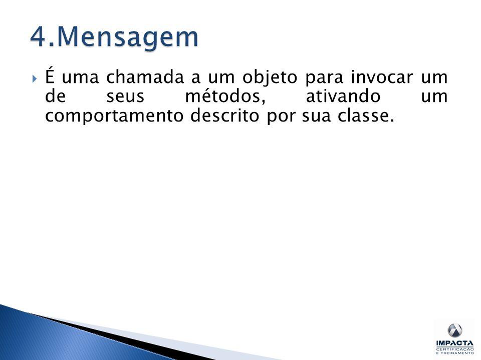  É uma chamada a um objeto para invocar um de seus métodos, ativando um comportamento descrito por sua classe.