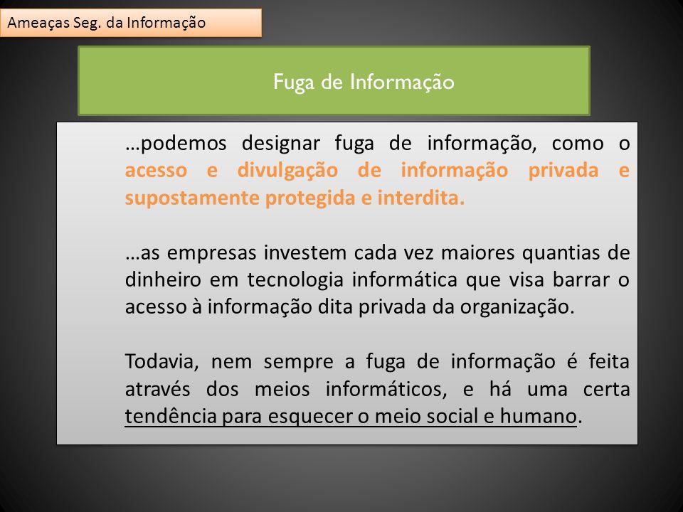 …podemos designar fuga de informação, como o acesso e divulgação de informação privada e supostamente protegida e interdita. …as empresas investem cad