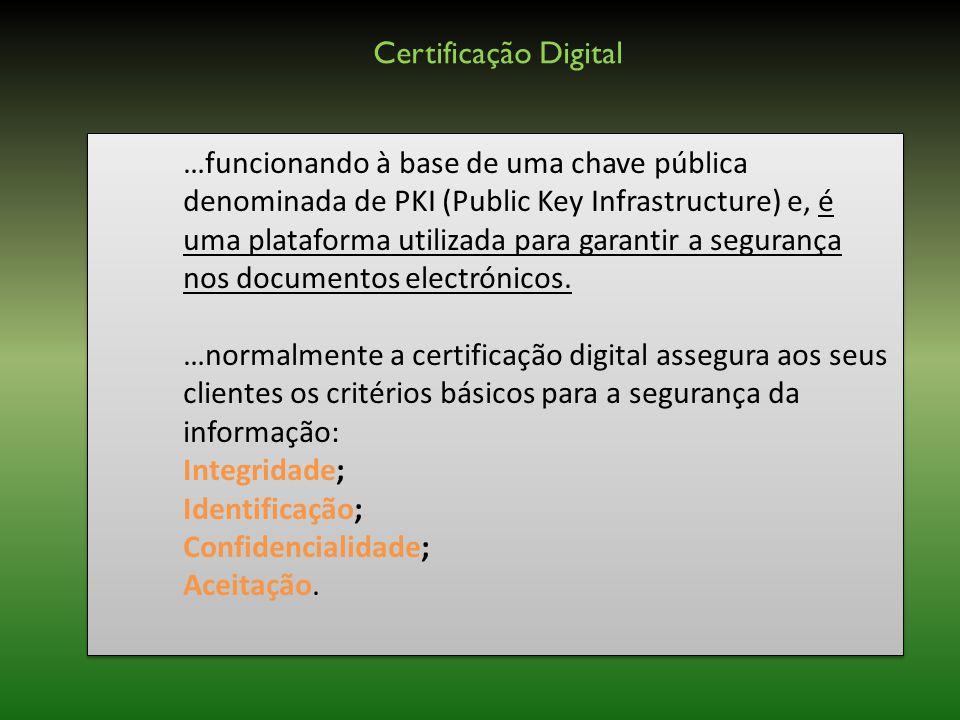 …funcionando à base de uma chave pública denominada de PKI (Public Key Infrastructure) e, é uma plataforma utilizada para garantir a segurança nos documentos electrónicos.