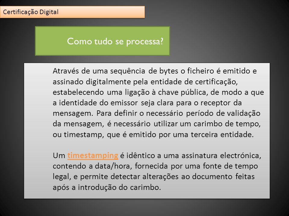Através de uma sequência de bytes o ficheiro é emitido e assinado digitalmente pela entidade de certificação, estabelecendo uma ligação à chave públic