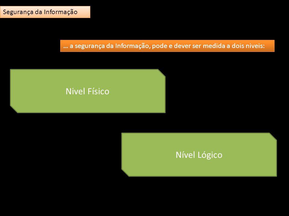 Nivel Físico Nível Lógico … a segurança da Informação, pode e dever ser medida a dois niveis: Segurança da Informação