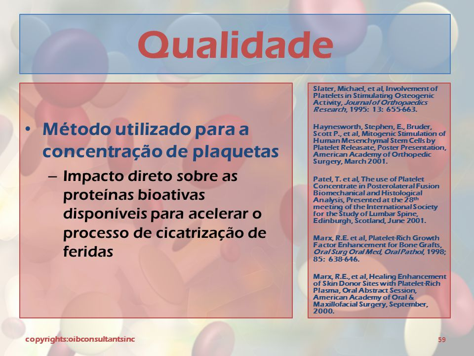 Qualidade Método utilizado para a concentração de plaquetas – Impacto direto sobre as proteínas bioativas disponíveis para acelerar o processo de cicatrização de feridas copyrights:oibconsultantsinc 59 Slater, Michael, et al, Involvement of Platelets in Stimulating Osteogenic Activity, Journal of Orthopaedics Research, 1995: 13: 655-663.