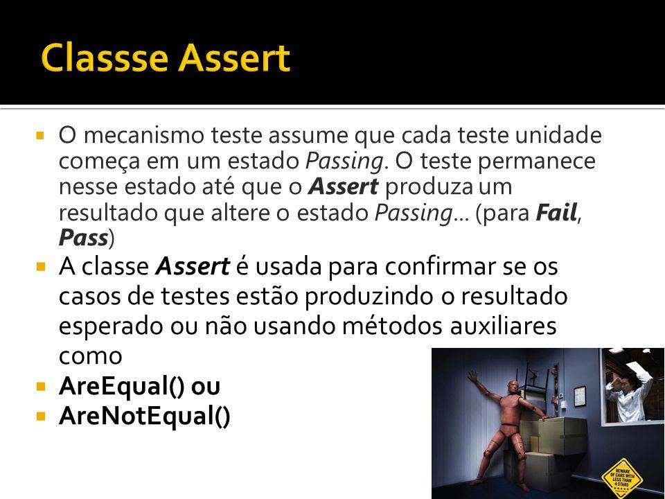  O mecanismo teste assume que cada teste unidade começa em um estado Passing. O teste permanece nesse estado até que o Assert produza um resultado qu