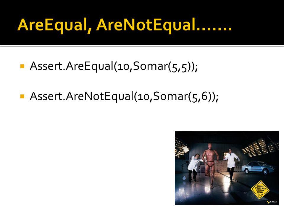  Assert.AreEqual(10,Somar(5,5));  Assert.AreNotEqual(10,Somar(5,6));