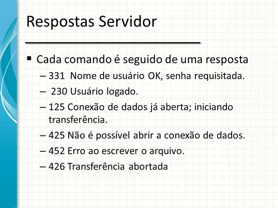 Respostas Servidor  Cada comando é seguido de uma resposta – 331 Nome de usuário OK, senha requisitada. – 230 Usuário logado. – 125 Conexão de dados
