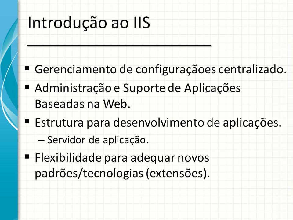 Introdução ao IIS  Gerenciamento de configuraçãoes centralizado.  Administração e Suporte de Aplicações Baseadas na Web.  Estrutura para desenvolvi