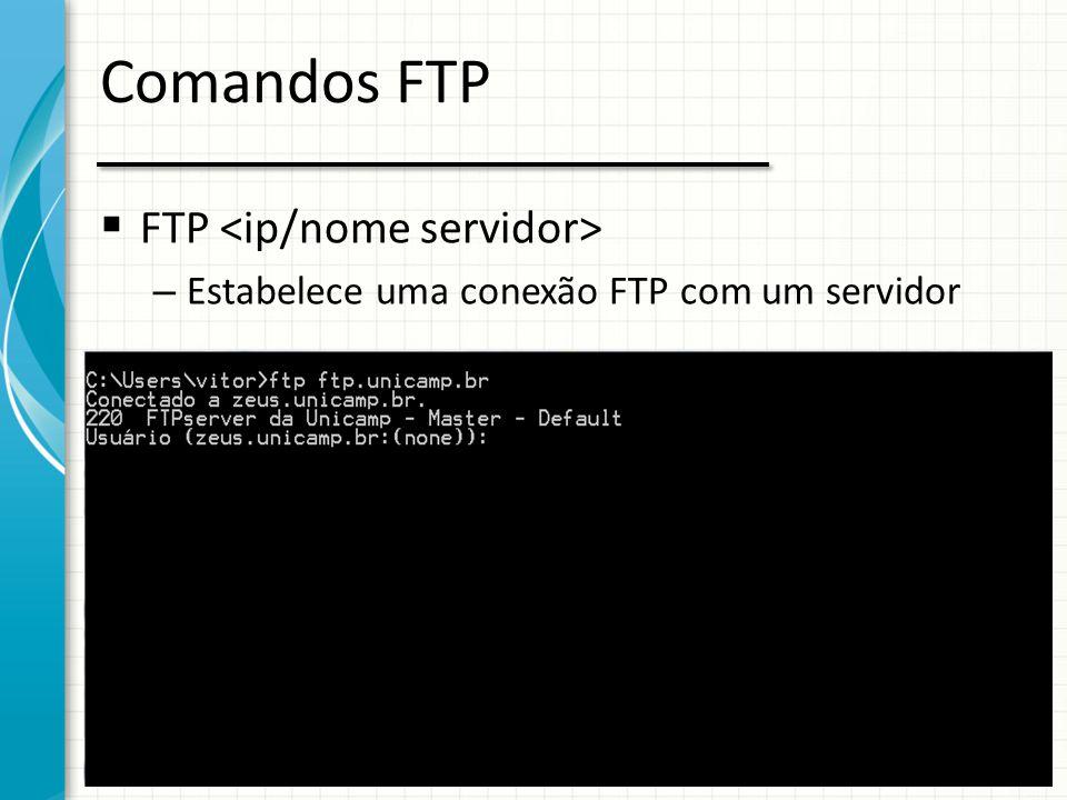 Comandos FTP  Comandos enviados em ASCII (7 bits) – USER – PASS – DIR – CD – GET – PUT – LCD – HASH – BIN – ASCii
