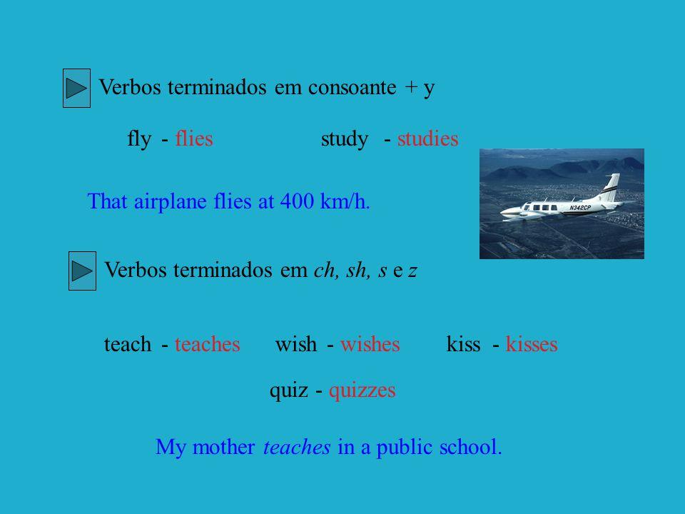Verbos terminados em consoante + y fly- fliesstudy- studies That airplane flies at 400 km/h. Verbos terminados em ch, sh, s e z teach- teacheswish- wi