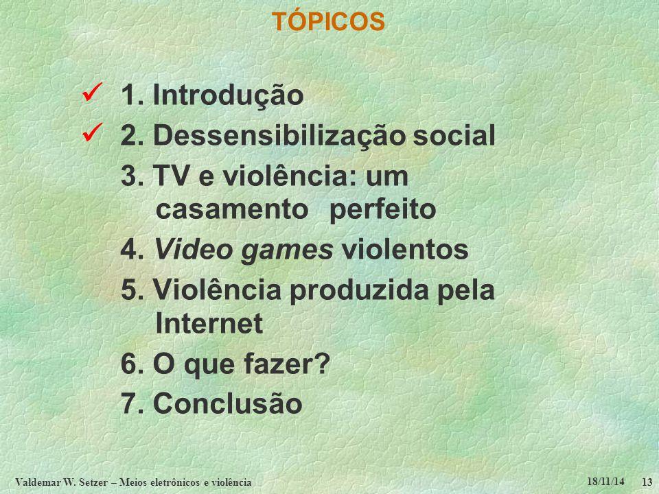 18/11/14 Valdemar W. Setzer – Meios eletrônicos e violência13 TÓPICOS 1.