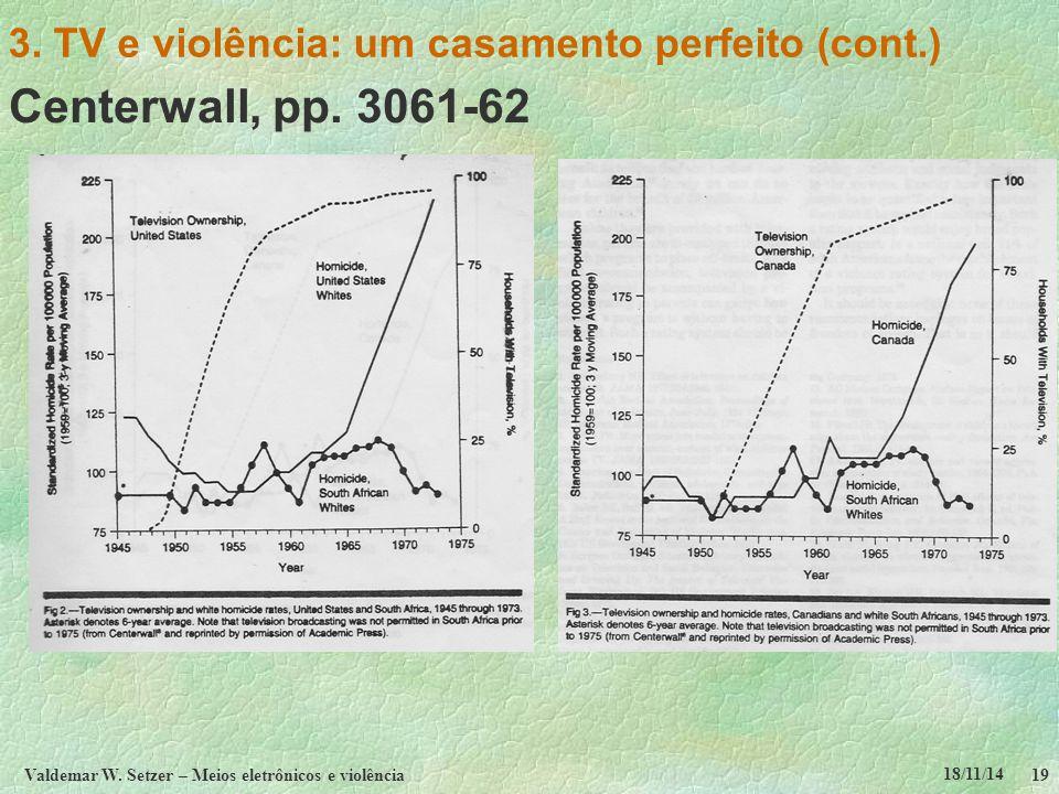 18/11/14 Valdemar W. Setzer – Meios eletrônicos e violência19 3. TV e violência: um casamento perfeito (cont.) Centerwall, pp. 3061-62