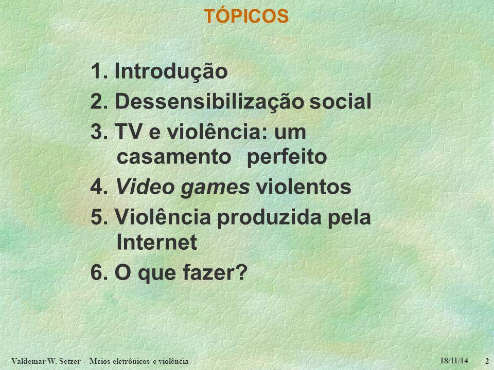 18/11/14 Valdemar W. Setzer – Meios eletrônicos e violência2 TÓPICOS 1.