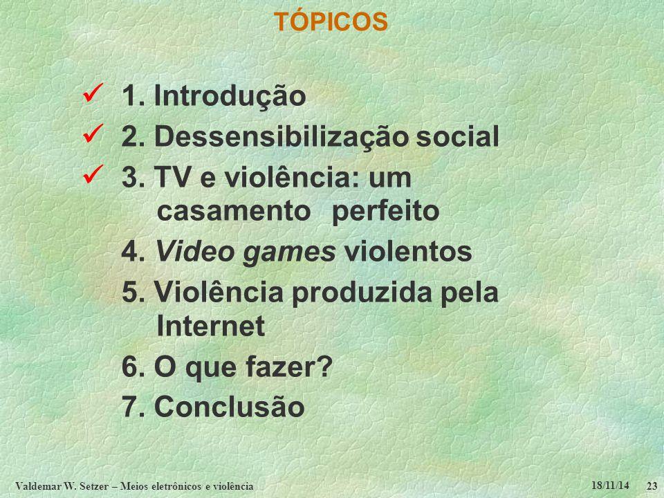 18/11/14 Valdemar W. Setzer – Meios eletrônicos e violência23 TÓPICOS 1.