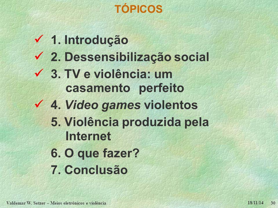 18/11/14 Valdemar W. Setzer – Meios eletrônicos e violência30 TÓPICOS 1.