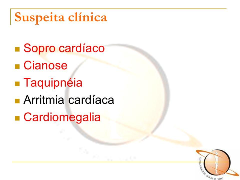 Suspeita clínica Sopro cardíaco Cianose Taquipnéia Arritmia cardíaca Cardiomegalia