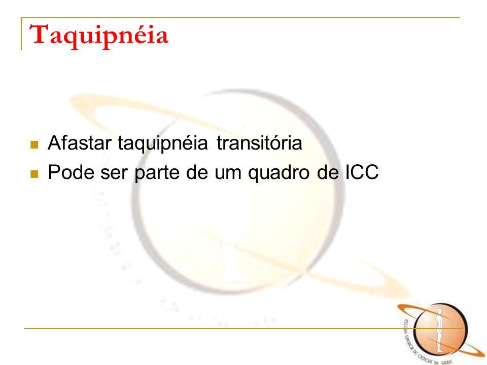 Taquipnéia Afastar taquipnéia transitória Pode ser parte de um quadro de ICC